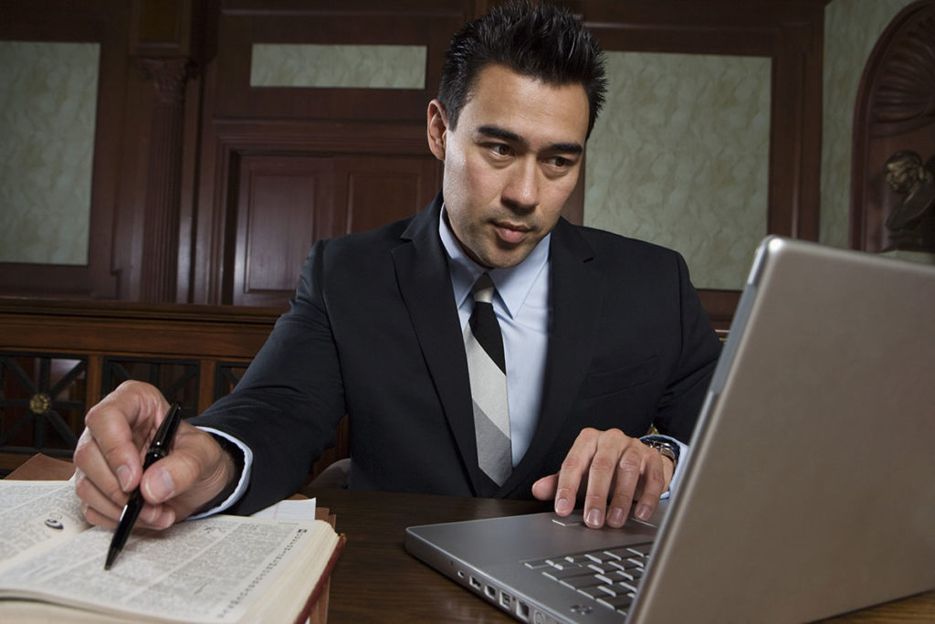 Lawyer using computer