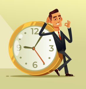 Happy calm businessman office worker character sitting on big clock a showing ok sigh. Stop time clock organization concept